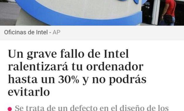 Intel recibe el año con duro golpe mediático por brecha de seguridad en sus procesadores